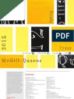McGill-Queen's University Press Spring 2012 Catalogue