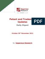 Sagacious Research - Patent & Trademark Updates – 30th November, 2011