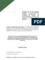 Modificación de la ley de partidos.procesos judiciales de candidatos