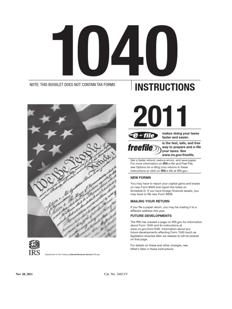 1040 Instructions Tax Return United States Internal Revenue