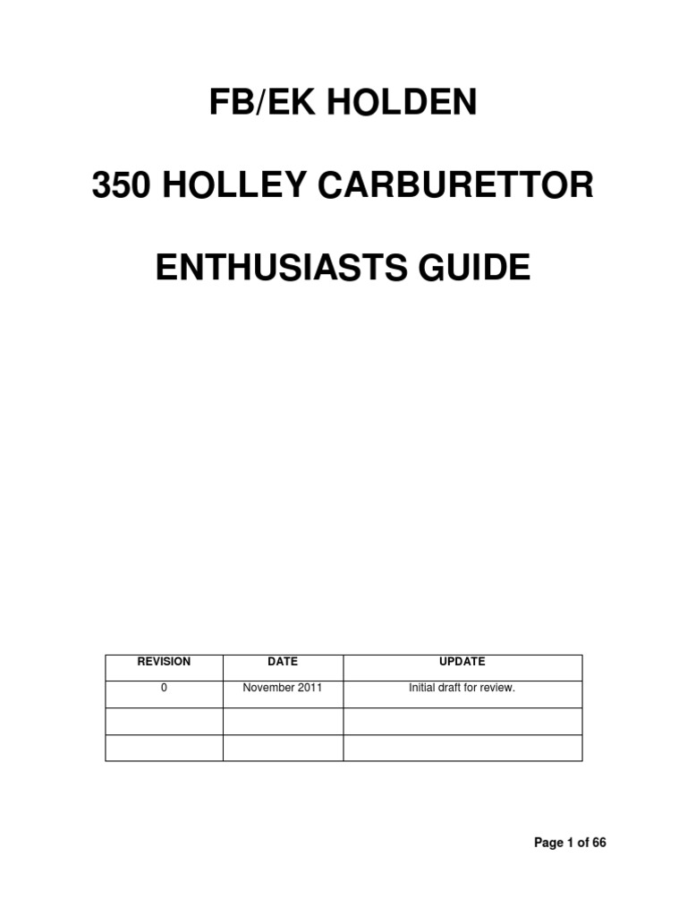 FB/EK Holden Holley 350 Guide | Carburetor | Throttle