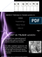 Recent Trends in Trade Union