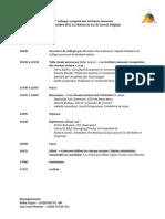 Programme du 3ème Colloque Européen Territoires Innovants et Réseaux Sociaux
