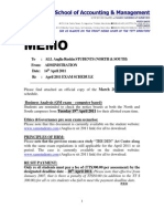 April 2011 Resit Exam Timetable