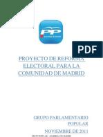 Proyecto de Reforma Electoral del Partido Popular en la Comunidad de Madrid