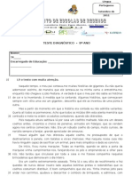 teste diagnóstico - 8º ano 2011-2012