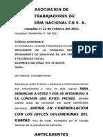 Denuncia a Asambleista Fernandez Doumet Scheznarda Seirina Comision Derechos Trabajadores