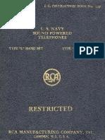 RCA Sound Powered Telephones (U.S. Navy 1940)