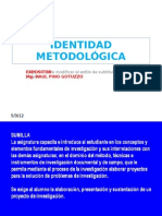 UNFV  INVESTIGACION APLICADA   IDENTIDAD METODOLÓGICA