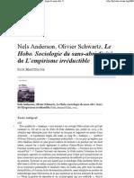 Nels Anderson, Olivier Schwartz, Le Hobo. Sociologie du sans-abri. Suivi de L'empirisme irréductible
