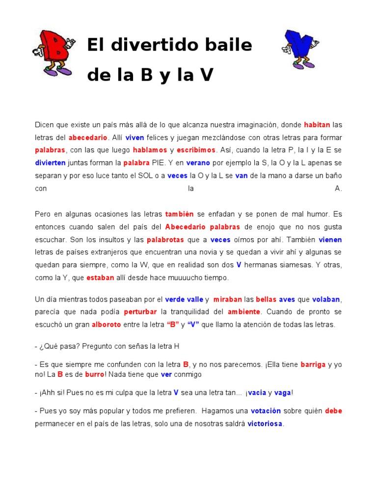 Cuento letra v y b for La b b