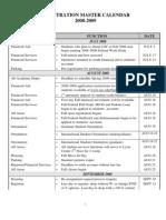 Registration Master Calendar 2008 - 2009