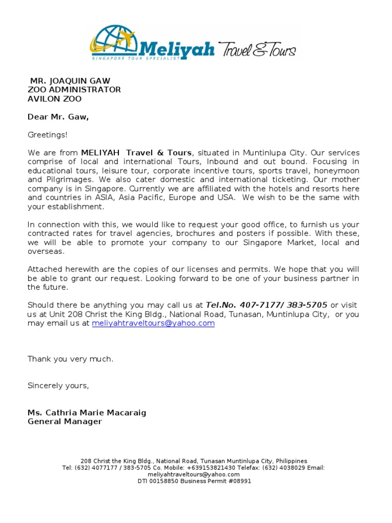 Request letter of contracted rates travel agency business spiritdancerdesigns Image collections
