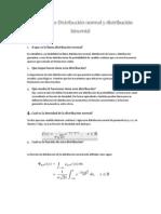 Cuestionario Distribución normal y distribución binomial