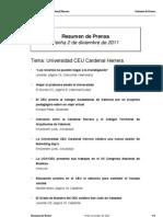 Resumen Prensa CEU-UCH 02-12-2011