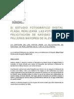 Felicitación de Navidad de las Falleras Mayores de Alzira 2012 - Nota de Prensa