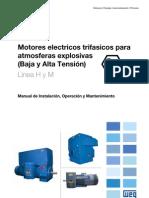 WEG Motor de Induccion Trifasico de Baja y Alta Tension Para Atmosfera Explosiva 10441931 Manual Espanol