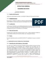 """Resumen Ejecutivo del Proyecto """"CONSTRUCCIÓN DEL ALCANTARILLADO PLUVIAL, SANITARIO Y PLANTA DE TRATAMIENTO PARA LA CABECERA PARROQUIAL DE UTUANA"""""""