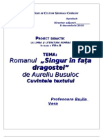 Singur in fata dragostei/proiect didactic