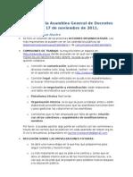 Resumen de La Asamblea General de Docentes Del Jueves 17 de Noviembre de 2011