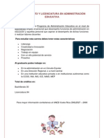 BACHILLERATO Y LICENCIATURA EN ADMINISTRACIÓN EDUCATIVA