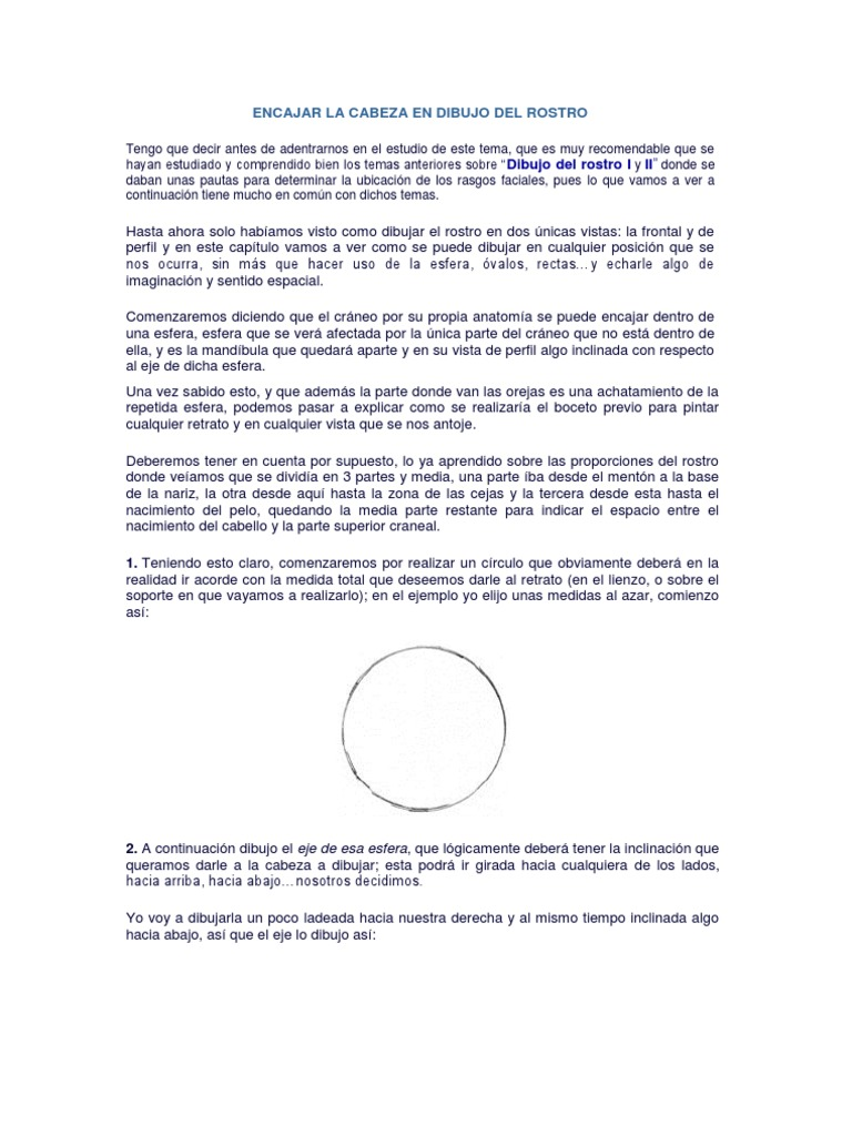 1 - Encajar La Cabeza en Dibujo Del Rostro