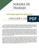 Lista R - Evolución & Acción - Programa FEULS 2012