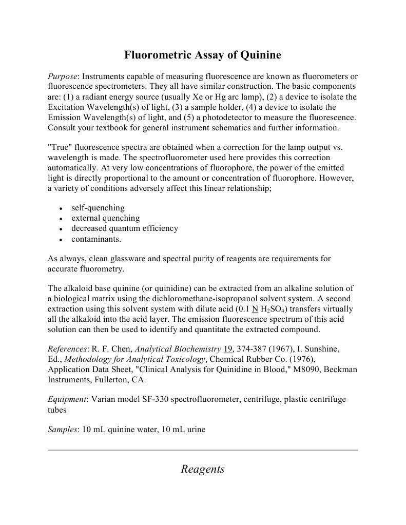 fluorescence spectroscopy lab report quinine
