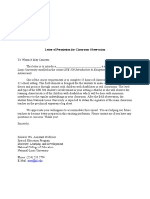 Letter of Permission for Classroom Observation