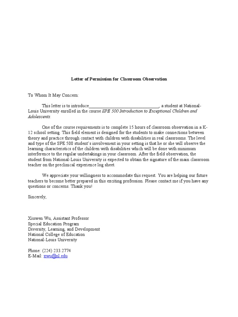 Letter of permission for classroom observation thecheapjerseys Images