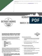 Verbatim Feedback Summits March-May 2011
