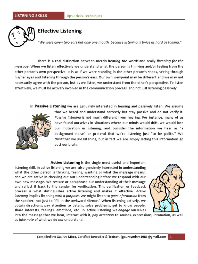 listening skills active passive listening question lecture