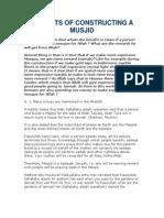 Benefits of Constructing a Musjid