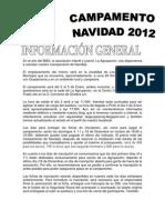 Información General Campamento de Navidad.