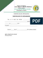 Certificat of Appearance MALUSO