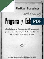 Partido Radical, Programa y Estatuto 1935