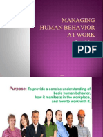 Managing Human Behavior at Work