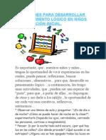 ACTIVIDADES PARA DESARROLLAR EL PENSAMIENTO LÓGICO EN NIÑOS DE EDUCACIÓN INICIAL