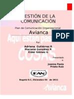 Plan de Comunicación Avianca                        Gonzalez Mariana,Gutierrez Adriana,Gomez Eider.plan de Comunicacion