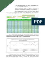 Resumen Mensual de Observaciones Solares - Noviembre 2011