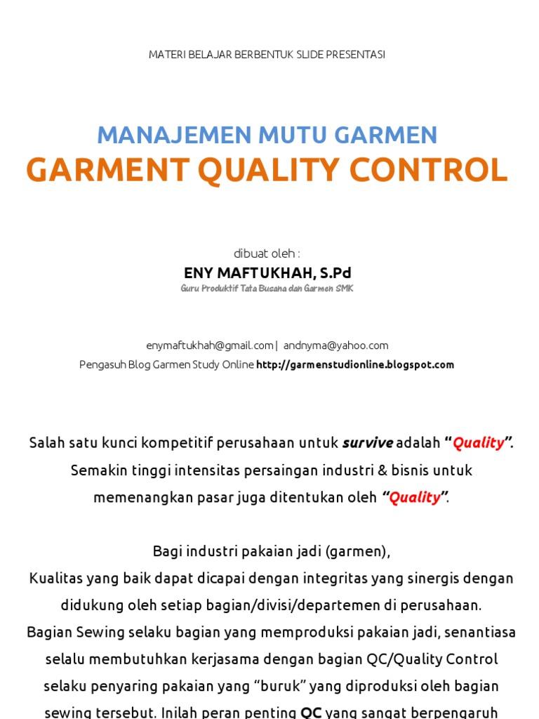 Contoh Soal Quality Control