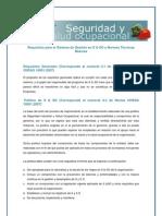 Requisitos para el Sistema de Gestión en Seguridad y Salud Ocupacional