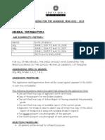 ABWA Admission Details 2012-2013