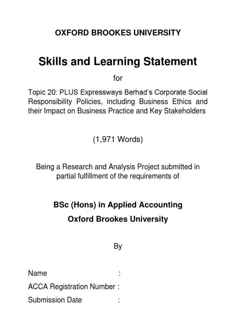 skills and learning statement obu Below you will find a brief overview of the obu programme which summarises the main initial aspects of the oxford brookes university skills & learning statement.