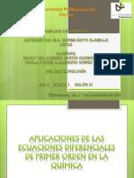 Aplicaciones de las ecuaciones diferenciales de primer orden en la química