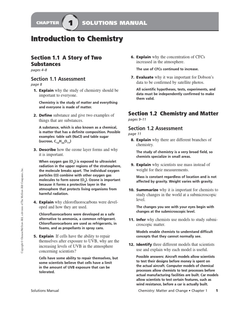 Chemistry matter and change chapter assessment mcgrawhill amazon. Chemistry  matter change chapter assessment answers chemistry matter and change ...