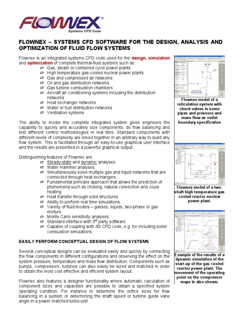 Flownex Profile Fluid Dynamics Computational Piping Layout Optimization