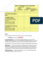 Employee Safety Training Plan Record