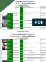 Lista Apartamentelor Imobilelor Cu 2 Camere de Vanzare Din Bacau La 24 Noiembrie 2011 (Download PDF)