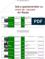 Lista Apartamentelor Cu 2 Camere de Vanzare Din Bacau La 09 Noiembrie 2011 (Download PDF)
